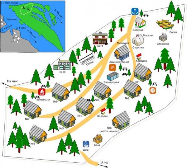 Схема расположения домиков